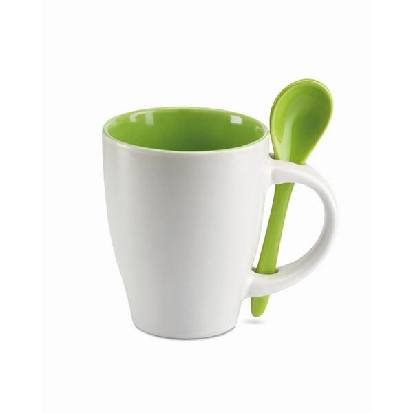 Чашка с ложкой MO7344-09 DUAL, зеленый