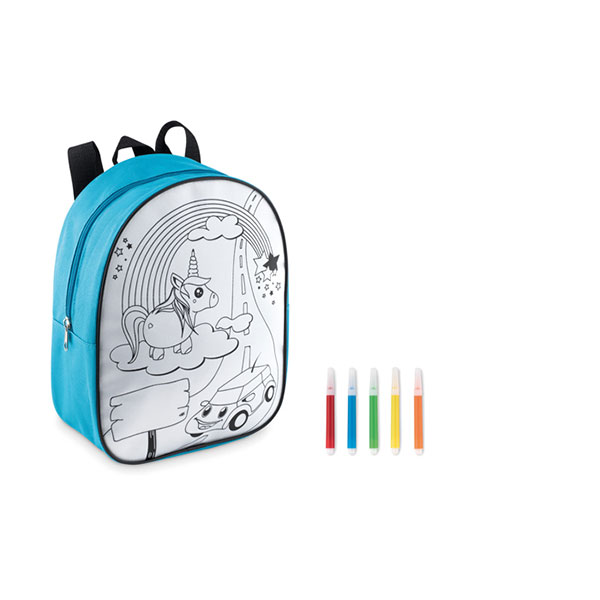 Рюкзак с маркерами MO9207-12 BACKSKETCHY, бирюзовый