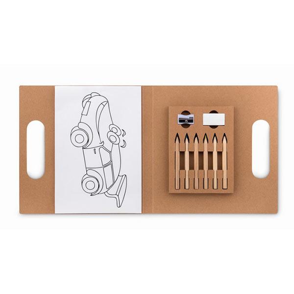 Раскраска в наборе с 6 карандашMO9544-13 FOLDER2 GO, бежевый