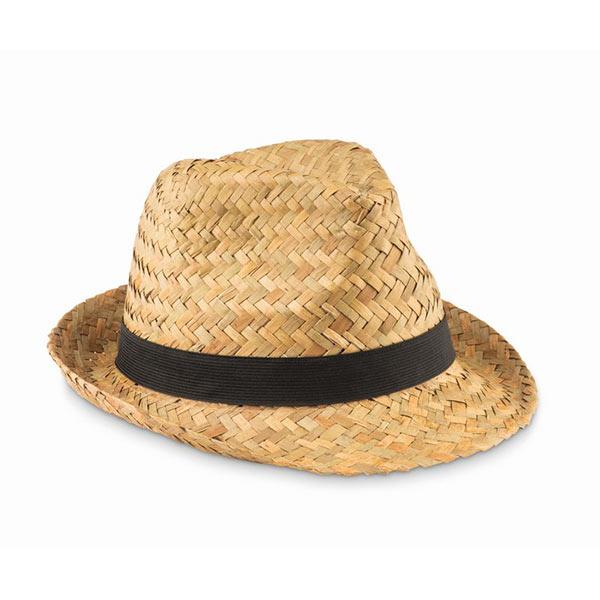 Шляпа натуральная соломенная MO9844-03 MONTEVIDEO, черный