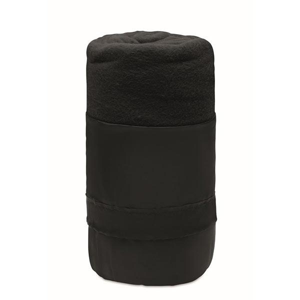 Флисовый дорожный плед из RPET MO9935-03 MUSALA RPET, черный